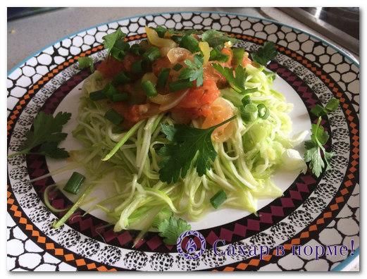 Спагетти из кабачков с соусом Болонезе (низкоуглеводный рецепт с фото)