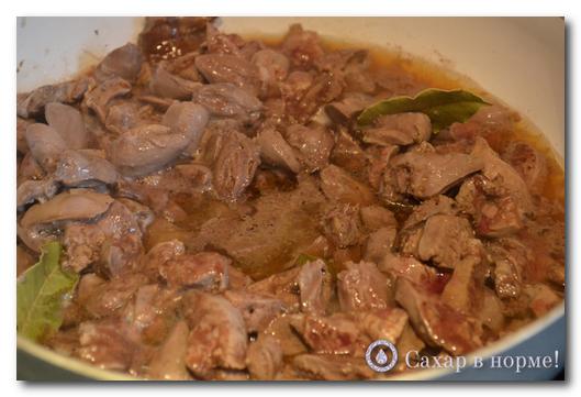 приготовление куриной печени, приготовление куриных сердечек, куриные сердечки в сметане